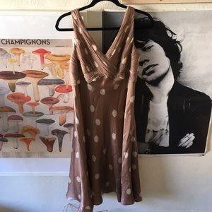 Anne Klein Silk Taupe Polka Dot Dress | 14